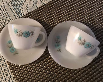 Fire King Bonnie Blue Tea/Coffee cups and Saucers . Set of 2.