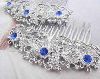 Hair Accessories Hair Jewelry, bridal hair comb wedding hair comb blue cystal hair comb, rhinestone hair comb, bridal pearl comb, headpieces