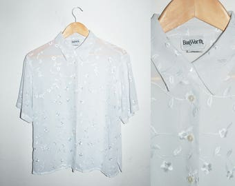 SALE! Until Feb 24th! VINTAGE Sheer Florals Button Down Blouse / Oversized Size Small and Medium