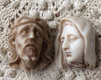 He's Looking Fed Up With Old Mary Vintage Jesus & Mary Head Figures