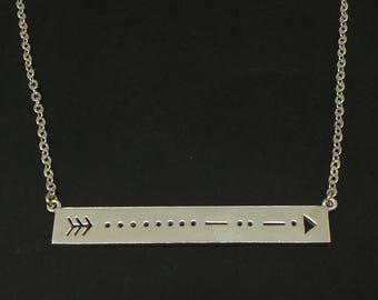 Morse Code Sister Arrow Bar Necklace Choker - Silver Custom Morse Code Necklace Sister Jewelry, Secret Hidden Message Necklace, Sister Gift