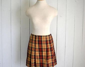 34% Off Sale - Plaid Mini Skirt Early 90s Mustard Yellow Red Vintage Punk Grunge School Girl Pleated Mini Skirt Small