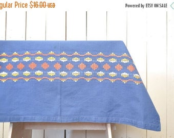 FIRE SALE 25% Off Woven Southwest Tablecloth Vintage Indian Fabric Piece Small Blue Orange White 1970s