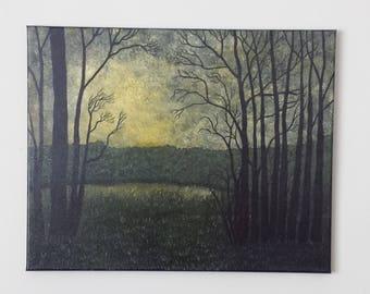 """Original Landscape Painting by Jul Deco. """"Mood"""" 16 x 20"""