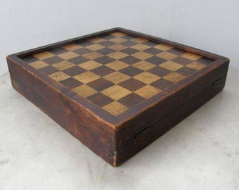 CHECKERS CHESS BACKGAMMON Parcheesi Boards Folding Box Handmade Game Set Vintage Board Games Brass Hinges & Lock Travelling Set Rare 1900's