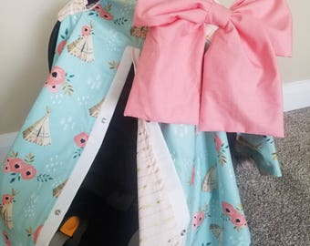 Carseat Canopy Teepee Floral Gold Arrow girl infant carseat cover