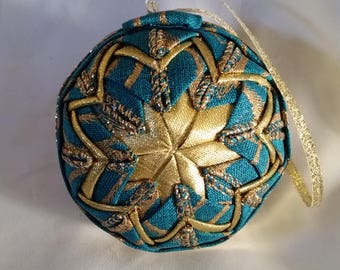 Turquoise quilted Christmas ornament