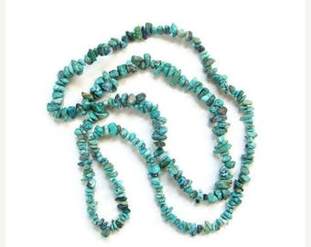 ON SALE Vintage Turquoise Nugget Bead Single Strand Graduated Necklace 36 Inch Boho Bohemian Chic