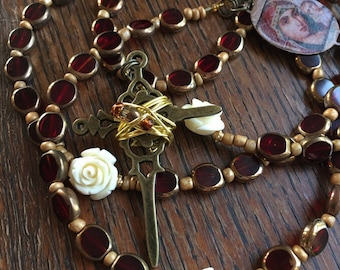 Catholic Rosary, 5 Decade, Red, White Roses, Madonna and Child Icon Image, Jesus Icon Image Centerpiece