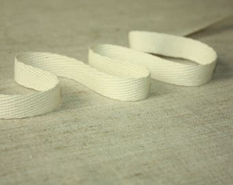 White Soft Cotton Ribbon by Yards - by Meters - Gorgeous Natural Soft Material = 100% Cotton Ribbon