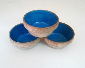 Stoneware Blue Glazed Clay Pots Set of 3 // French Country Home Baking