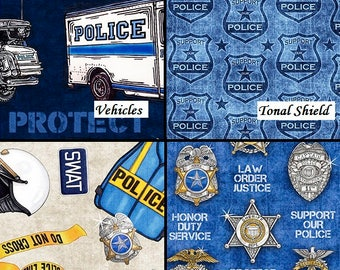 Pre- Order July, Protect & Serve, Quilting Treasures Fabric, 1/2 Yard