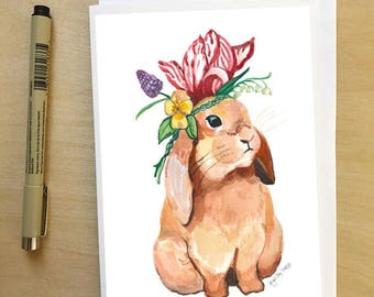 Bunny in a Flower crown, spring and easter greeting card, by Abigail Gray Swartz