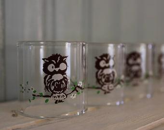 Set of 4 Vintage Owl  Glass Napkin Rings