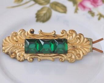 Antique Golden Filigree Jewel Barrette,Emerald Green Art Deco Rhinestone Hair Clip,Large Gold Filigree Floral Stamping,Antique,Something Old