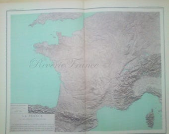 Antique French Map  1890 Large Map of France -Topography Map of France