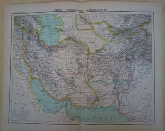 Pakistan map etsy antique map of persia balouchistan and afghanistan 19th century large map of iran pakistan gumiabroncs Choice Image