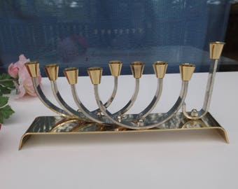 Delightful brass 24 K gold & silver plated Hanukah menorah from Israel Karshi Jerusalem candle holders,Hanukkah, Judaica..'מכב.Gift idea