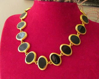 Gold Tone Black Oval Necklace Costume Jewelry Necklace