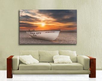 Extra Large Beach Theme Canvas Wrap,  Ocean City Life Boat, Seascape Sunrise Ready to Hang Wall Art, Warm Colors