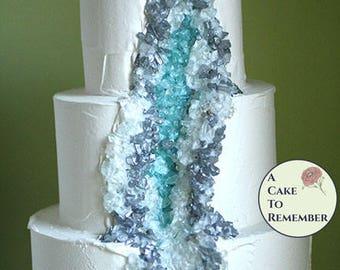 "3 tier faux geode wedding cake, fake geode display cake. Ships free. Dessert buffet fake cake. 5-7-9"" tiers three tiered dummy cake"