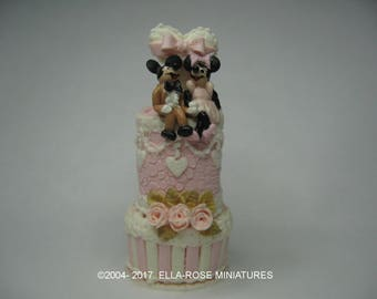 12th Scale Miniature Mickey and Minnie Cake