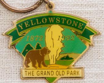 Yellowstone National Park Vintage Keychain The Grand Old Park 1872 1992 Bear Old Faithful Wyoming Montana Key FOB Brass Key Chain 7KC