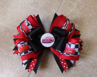 Cars inspired bow, Lightning Mcqueen large 5 inch hairbow