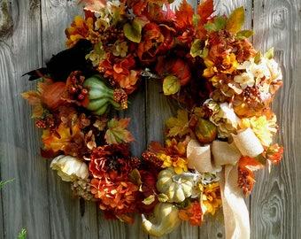 Fall Wreath , Rustic Wreath , Door Wreath , Wreath Fall , Autumn Wreath , Fall Hydrangea ,