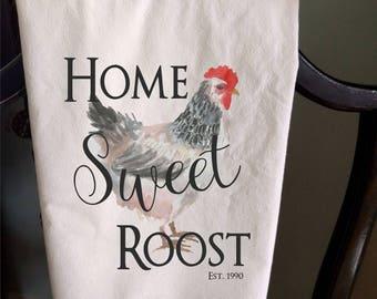 Home Sweet Roost hen chicken Tea Towel