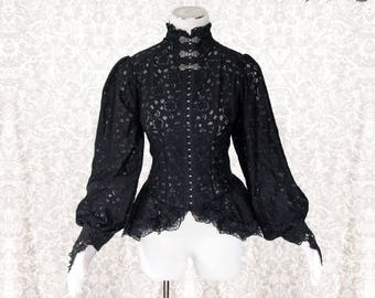 Blouse Victorian, Steampunk, romantic goth shirt, black, Somnia Romantica, approx size small - medium, see item details for measurements