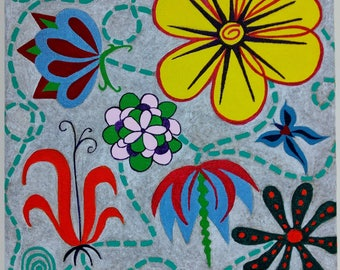 Original Abstract Flower Acrylic Painting Gallery Wrapped Canvas Folk Art Colorful 10 by 10 Ready to Hang Naive Primitive Floral Painting