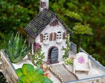 Fairy Garden Set ~ English Countryside Cottage ~ Daisy Chair ~  Walkway ~ Use in Flower Garden ~ Birchwood Planter and Fairy Option
