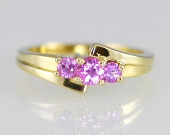 Natural Pink Sapphire Three Stone 14K Solid Gold Ring
