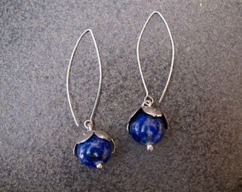 Flowers Shaped Lapis Lazuli Sterling Silver Earrings