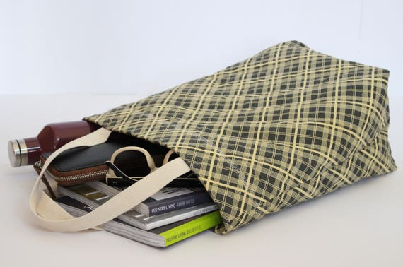 Quilted Gray Plaid Market Tote Bag