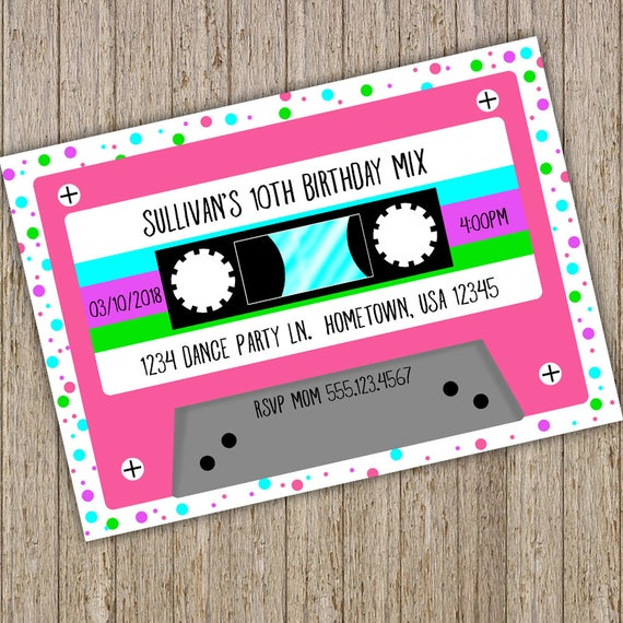 Cassette Tape Birthday Invitation Retro Mix Tape invitation Music
