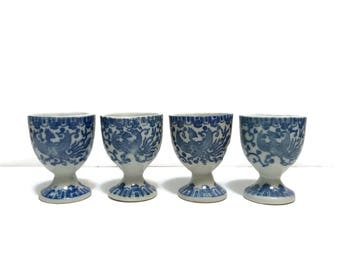 4pc Vintage Egg Cups, blue and white porcelain, made in Japan, Phoenix design