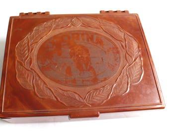 Vintage Corina Cigar Box / Plastic Marbled Brown Hinged Tobacciana Collectibles Decor Gift For Him Smoker Men Storage