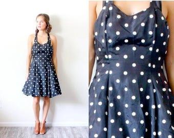 30% OFF SALE Vintage polka dot dress // black polka dot mini summer dress // 80's dress // mini dress // polka dot dress // summer dress