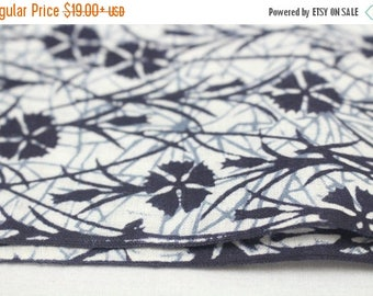 SALE Japanese Artisan Cotton. Vintage Yukata Bolt. Blue Indigo layered Floral. Katazome Batik (Ref: 1603)