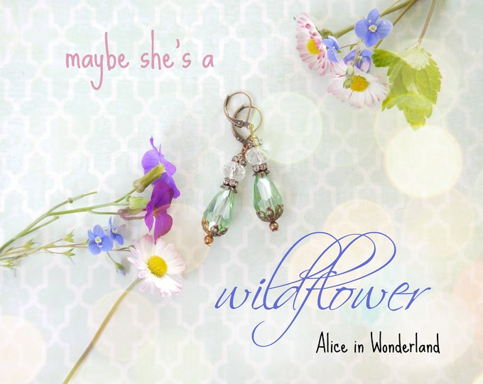 Romantic Postcard with Alice in Wonderland quote: Maybe she's a wildflower, jewerly postcard, pastel color card, wildflower postcard