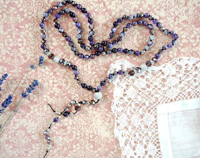 handknotted gemstone necklace with 6mm amethyst beads, czech glass beads and silver colored accent beads, 108 mala beads, cubic zirkonia