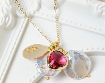 Ruby Necklace - July Birthstone Necklace, July Necklace, Ruby Birthstone, Delicate Gold Necklace, Birthstone Necklace, Cancer Birthstone