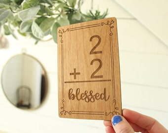 Family Addition Sign | Farmhouse Sign | Addition Flashcard Sign | Family Size Sign | Blessed Family Sign | Gifts Under 10