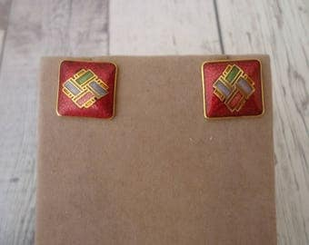 "Vintage Gold Tone Cloisonne Pierced Post Earrings, Square Shape, Red, Green, Blue, 1/2"" Wide"