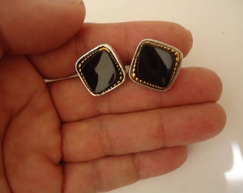 Vintage Silver Tone Cuff Links with Black Stone, Unisex Accessory