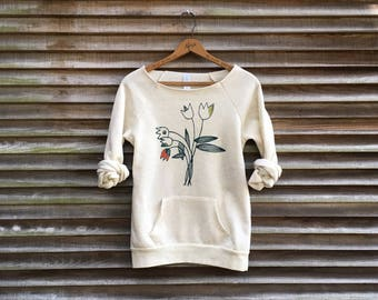 SALE Tulips Sweater, Yoga Top, Gift for Mom, Floral Shirt, Size S, XL