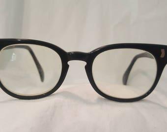 Vintage 1930s Women's Black Frame Eyeglasses For Frames. 5 1/4