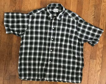 1960s Sears Mens Cotton Perma Smooth Plaid Shirt